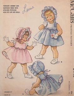 Vintage McCalls Child's Bonnet Dress & Petticoat Sewing Pattern Sz.6 Mos # 2446