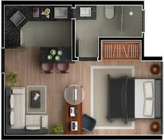 Layout open to bedroom, needs windows In front , switch sofa Studio Type Apartment, Studio Apartment Floor Plans, Apartment Plans, Apartment Design, Apartment Living, Apartment Ideas, Layouts Casa, Bedroom Layouts, House Layouts