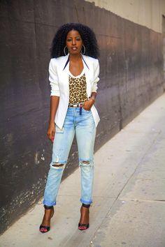 Tuxedo Blazer + Leopard Print Tee + High Waist Jeans