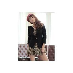 Buy Black Korean Fashion Deep V-Neck Long Sleeves One Button Cotton... via Polyvore