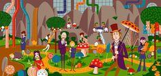 "Josh Agle SHAG ""Willy Wonka & Chocolate Factory"" print POP ART Serigraph #/100    Art, Art from Dealers & Resellers, Prints   eBay!"