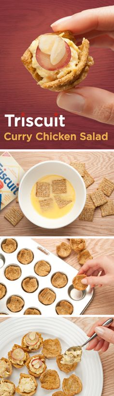 Tired of serving the same party trays over and over? Spice things up with a delicious Curry Chicken Salad TRISCUIT appetizer! To make the muffin tin tray: soak TRISCUIT crackers in a bowl of whisked eggs until softened, and press one soaked cracker into each greased mini muffin tin cup. Bake for 15-20 mins at 350°F or until crispy and let cool. Next, mix shredded chicken, mayo, and curry powder into a bowl and scoop a spoonful into each cup. Top with sliced grape and sliced almonds and…