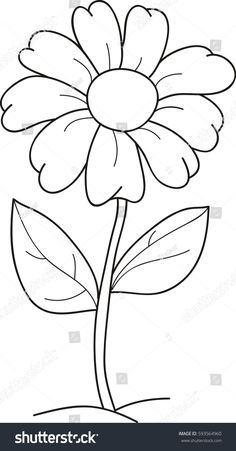 Find Cartoon Vector Illustration Flower Coloring Book stock images in HD and millions of other royalty-free stock photos, illustrations and vectors in the Shutterstock collection. Easy Flower Drawings, Easy Drawings, Flower Drawing For Kids, Illustration Blume, Illustration Flower, Printable Flower Coloring Pages, Art Drawings For Kids, Motif Floral, Stained Glass Patterns