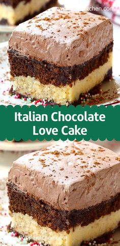Easy Italian Chocolate Love Cake Recipe - Like a cross between chocolate marble cake and cheesecake, this perfect make-ahead dessert includes layers of chocolate cake, sweet ricotta, and a creamy chocolate mousse frosting. Mini Desserts, Make Ahead Desserts, Quick Easy Desserts, Easy Cake Recipes, Dessert Recipes, Quick Dessert, Italian Chocolate Cake Recipe, Chocolate Marble Cake, Chocolate Cake Mixes