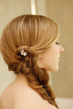 This over the shoulder plait will look beautiful with a dress with a low back.