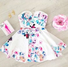 dress white floral summer short dress beautiful amazing lovely colorful pink flowers bustier love wanna have blue leaves
