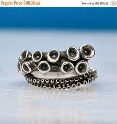Anneau de poulpe  sterling silver rings de par zulasurfing sur Etsy