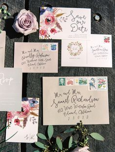Floral 'Save the Date' and Invitations: http://www.stylemepretty.com/oklahoma-weddings/edmond/2015/06/02/lovely-lavender-wedding-inspiration/   Photography: Sheradee Hurst - http://www.sheradeehurstphotography.com/