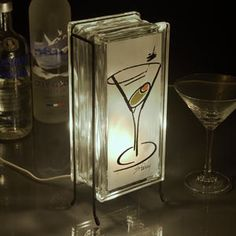 Martini  lamp FREE SHIPPING upcycled handmade glass block night light for home bar kitchen night light graduation gift anniversary gift