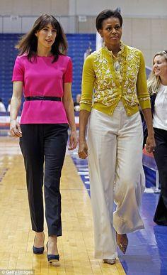 Samantha Cameron and Michelle Obama in Washington Barrack And Michelle, Michelle And Barack Obama, Fashion 2020, Star Fashion, Fashion Outfits, Women's Fashion, Office Fashion, Samantha Cameron, Michelle Obama Fashion