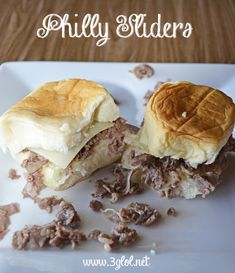 Philly Steak Sliders. Made with philly steak on King's Hawaiian Rolls. Kid friendly. Great appetizers. #phillycheesesteak #slider #appetizer http://www.3glol.net