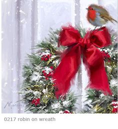 Wreath with Robin