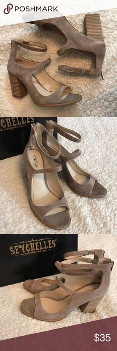 """Seychelles Equal Heels Seychelles Heels that are labeled """"night grey"""" but these are more of a sand color to me. Perfect condition - new in box. Chunky heel- perfect to wear all day. Seychelles Shoes Heels"""