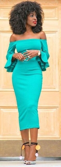 #summer #trendy #outfitideas Off Shoulder Frill Sleeves Midi Dress