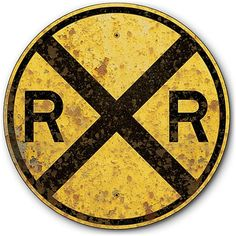 """1935 Railroad Crossing Tin Metal Train Sign Old Rusted Vintage Effects 14"""" diam"""