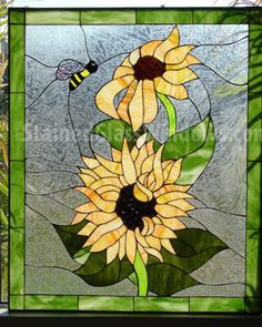Vibrant and Bright Sunflower & Bumble Bee Stained Glass Window