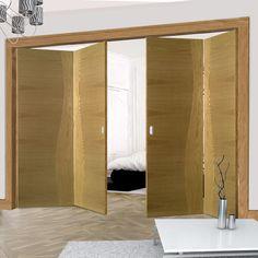 Thrufold Cadiz Oak 2+2 Folding Door - Prefinished - Lifestyle Image.  #oak #foldingdoors