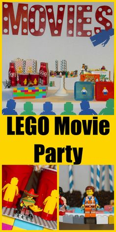 Minifigures from movie on pedestal.  Solo cups with lego minifigures stickers.