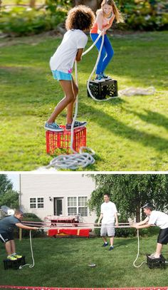 Milk Crate Tug O War | 16 DIY Summer Activities for Kids Outside | Fun Summer Ideas for Kids Outside Games