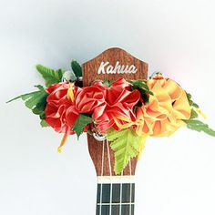 ukulele item  / Ribbon lei for ukulele / orange hibiscus / flower lei / ukulele gift /  ukulele art /