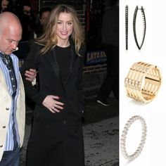 #AmberHeard wearing #MelissaKayeJewelry Large Cristina #earring in #18k black #gold and our Izzy #ring in 18k yellow gold with #diamonds #jewelry #finejewelry #blackgold #yellowgold #blackdiamonds #fashion #style #celebs #celebstyle #streetstyle