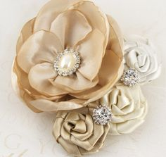 fabric flower corsage with jewels