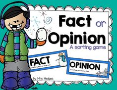 This is a winter themed sorting activity using fact and opinion statements. I love to use sorting games for guided reading, stations, or a quick check on skills. Check out all of my winter resources here! Sorting Games, Sorting Activities, Language Activities, Reading Activities, Classroom Activities, Winter Activities, Classroom Ideas, Opinion Words, Fact And Opinion
