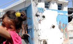 Damaged school in Gaza
