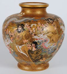 Impressive Satsuma Pottery vase decorated with immortals and dragons. Meiji Period. Signed. (View 1).