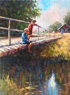 """Fishermen. [Lamido Naim]  - """"Looking at the quiet flowing stream rather than at the intrusive telephone screen"""""""