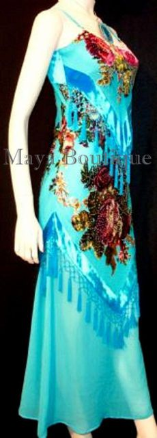 Turquoise Burnout Velvet Dress by Maya Boutique
