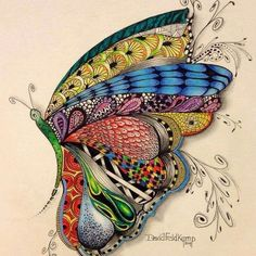 Colored butterfly zentangle-drawing by David Feldkamp. Doodles Zentangles, Zentangle Patterns, Art Papillon, Tangle Art, Wow Art, Art Plastique, Mandala Art, Doodle Art, Doodle Doodle