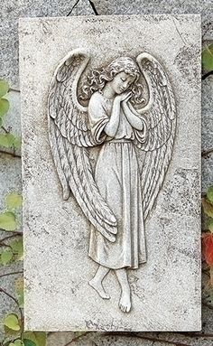 This is a beautiful Guardian Angel Relief Wall Plaque that brings a warm feeling of peace at first glance. It is a welcome addition for your garden patio or home. Made of Resin/Stone Mix Measures 15.6