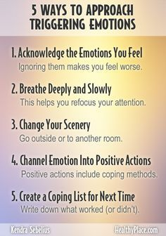 """When in recovery from an addiction, feelings and emotions can often be overwhelming. Here are 5 ways to approach triggering emotions in sobriety. Take a look."" www.HealthyPlace.com"