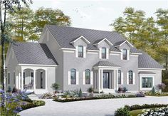 Check out this house plan with a mother-in-law apartment! DD-3039 is a large, single family home with plenty of room for everyone -- 5 bedrooms and 4.5 bathrooms ensure that everyone has plenty of space, but it's the style that really sets this house plan apart!