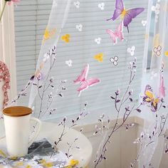 Butterfly Branches Printed Tulle Curtains for Living Room Kitchen Indoor Window Screening Decor Balcony Burnout Voile Curtain