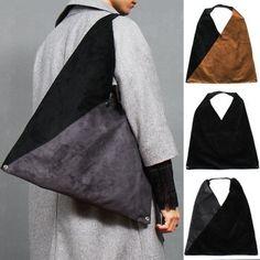 Foldable Triangle Color Design Synthetic Suede Shoulder Bag