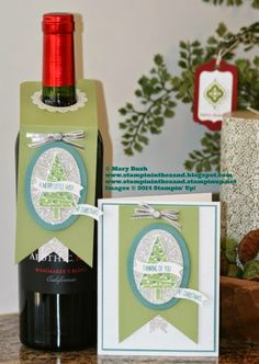 Stampin Up Festival of Trees gift set with wine bottle tag and matching card