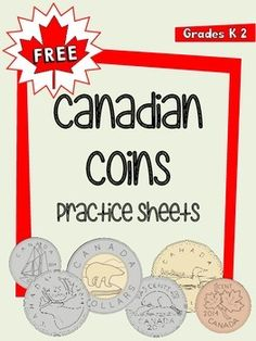 FREE Canadian Money (Coins) Practice Sheets by One Teacher's Adventures Canadian Symbols, Canadian Coins, Teaching Money, Teaching Math, Teaching Ideas, Money Activities, Math Resources, Money Template, Second Grade