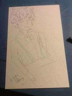 a wip of my qt OC (original character) louis. i think I'll either color pencil him or copic. I can't stop laughing at the sketch, though XD i draw a perfect face, and then I do a quick block out of the body. I just ink in details, so no biggie I guess