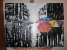 Umbrellas. Gemaakt in acryl. Afm. 60 x 80 cm