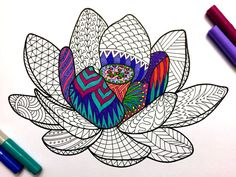 Lotus Flower - PDF Zentangle Coloring Page