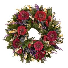 "- Our Zinnia Cottage Wreath is jumping with bunches of natural silica preserved zinnias, English Lavender, fern, pink phalaris and larkspur. - Beautiful dried flowers. - 16"" Diameter. - Protect from W"