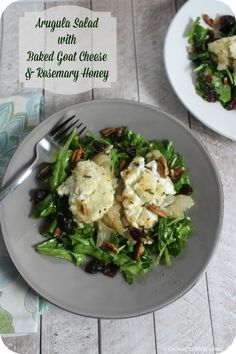 Arugula Salad With Baked Goat Cheese and Rosemary Honey #BloggerCLUE | Cooking In Stilettos http://cookinginstilettos.com/arugula-salad-with-baked-goat-cheese-and-rosemary-honey/