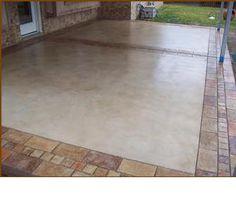 Concrete patio with border