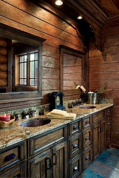 Country bath double vanity and mirrors ~ I think I would do other lighting
