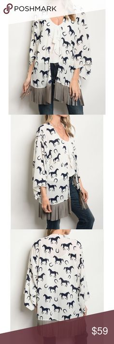 New boho horse Fringe Kimono Cardigan Made in the USA  100% polyester  If you like show me your mumu you'll absolutely love this brand as their products are very similar. Extremely high quality products with beautiful prints and a more affordable price. Sweaters Cardigans