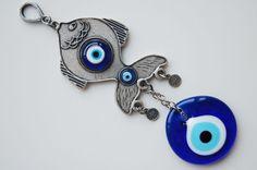 Fish Wall Hanging Amulet Wall Decor Handmade Evil Eye Bead