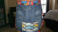 Handmade apron of a loved ones jeans First Love, Apron, Warm, Quilts, Jeans, Handmade, Fashion, Moda, Hand Made