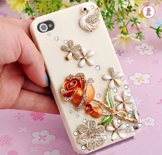 Free Phone Case & Pretty Rose Flower Swan Styles DIY Deco Kit Decoden Kit Cabochon Deco Kit For DIY Cell Phone iPhone 4G 4S 5 Case